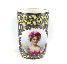 Sevres Jean Pouyat Porcelain & Silver Overlay Cup w/ Miniature Portrait Signed