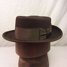 Chocolate Brown Dobbs Flat Top Pork Pie with Chocolate Brown Band -- Size 6 5/8