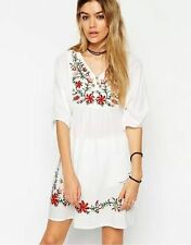 HOT Women Boho Mexican Ethnic Embroidered Dress Hippie Blouse Gypsy Mini Dress S