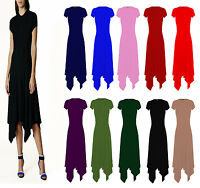 New Womens Long Plain Cap Sleeve Ladies Hanky Hem Dress Plus Sizes (UK 8-26)