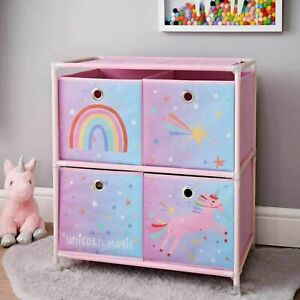 Pink Unicorn 2 Tier 4 Drawer Canvas Chest Storage Toy Organiser