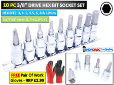 "9pc 3/8"" Drive Hex Allen Key Bits Socket Set 3 4 5 5.5 6 8 10mm 8150 Plana Philips"