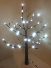 2ft Snowy Effect Twig Tree/Pre-lit/36 LED Cool White Christmas Lights/Decoration