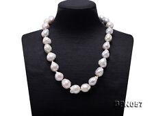 "19"" Fashion 11×11.5-14×15mm White Baroque Edison Pearl Necklace"