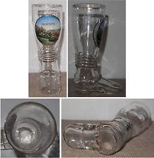 Andenken-Stiefel aus Glas Heidelberg mit emaillierter Stadt-Ansicht