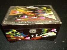 VINTAGE ASIAN HAND PAINTED  MUSIC - JEWELRY BOX BEAUTIFUL