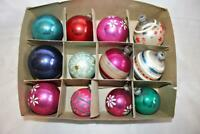 Vintage 12 Shiny Brite Christmas Ornaments Stenciled-One Opaque Not Shiny Brite