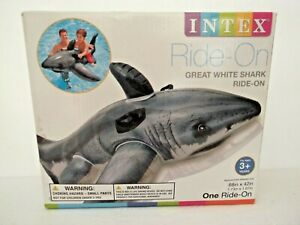 """Intex Great White Shark Ride-On Inflatable Pool Float 68""""x42"""" NEW"""
