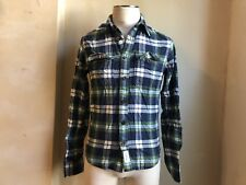 ABERCROMBIE&FITCH BLUE GREEN PLAID MUSCLE FIT SHIRT S SMALL RARE $79.50