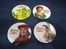 Shrek DVD VHS Relese Promo Pinback Pin Set of 4 Fiona Lord Farquaad Shrek Donkey