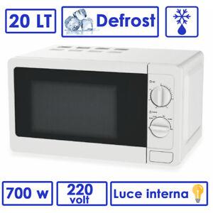 Microondas Eléctrico Horno 20 Litros 700W Blanco Luz Interna Defrost