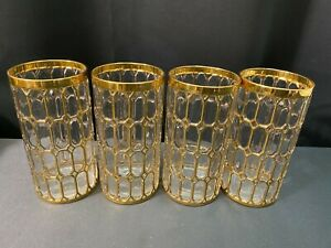 "Set of 4 ~ Imperial Glass Sortijas De Oro ""SPANISH WINDOWS"" Glass Tumblers"