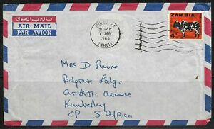 Zambia 1965 Airmail Cancelled to Kimberley, Tied with Mufulira CDS Dated 7/1/65