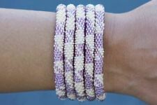 "Sashka Co regular 6-8"" CALI LOVE Glass Beaded BRACELET light tan purple Nepal"