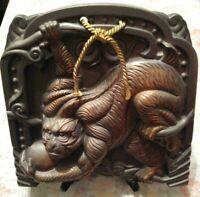 Monkey Statue Japanese roof tiles KAWARA Pottery Ware Antique Okimono Old Japan