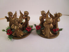 Vintage Pair of Christmas Plastic Gold Angel Trio Candle Holders Hong Kong