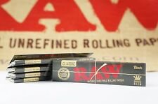 5 PACKS OF AUTHENTIC RAW BLACK DOUBLE PRESSED ROLLING PAPER KING SIZE NATURAL