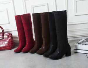 Ladies Shoes Faux Suede Mid Heels Knee High Pull On Slouch Boots AU Size b264