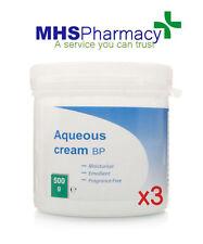 3x Aqueous Moisturiser Emollient Fragrance Free Skin Body Wash Soap Cream 500g