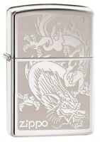 Zippo Lighter: Dragon, Engraved - High Polish Chrome 76458