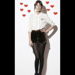 Alexa Chung Madewell Billie brown velvet high rise fancy dress shorts size 2