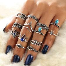 13 Pcs/Set Silver Midi Finger Ring Vintage Punk Boho Knuckle Rings Set Jewelry