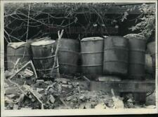 1981 Press Photo Toxic Chemical Barrels at Brown Manufacturing PCB Site