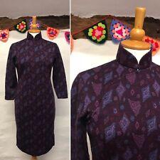 TRUE VINTAGE WIGGLE DRESS SIZE 10 CHEONGSAM STYLE ORIENTAL PURPLE GEOMETRIC 60s