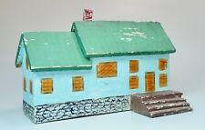 "Vintage Hand Made Painted Wood Folk Art House 7 3/8"" Long Primitive Style"