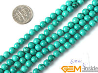"""Blue Natural Turquoise Gemstone Round Loose Spacer Beads For Jewelry Making 15"""""""