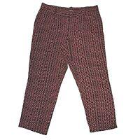 Ann Taylor LOFT 16 XL Pants Navy Blue Rust Red Chevron Dot Julie Pocket Trouser
