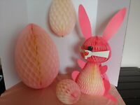 """Vintage Pink Easter Bunny Rabbit Honeycomb Tissue Centerpiece & 3 Eggs 22"""" Tall"""