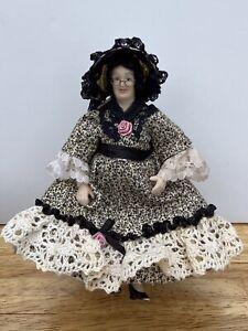Dolls House Doll 1:12 Scale ARTISAN Handmade, Great Aunt, Grandma Bonnet Portly