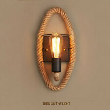 Vintage Industrial Hemp Rope Pipe Wall Sconce Rustic E27 Wall Light Lamp 26*40cm