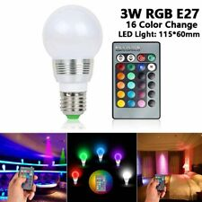 RGB LED Color Changing Light Bulb with Remote Control Dimmable 3W E27 Screw Base