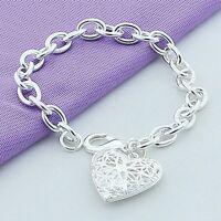 Fashion 925 Sterling Solid Silver Jewelry Heart Beads Bracelet For Women