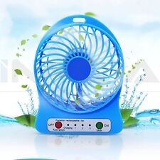 USB Portable LED Mini Fan Air Cooler 2400mAh Rechargeable Lithium Battery Blue