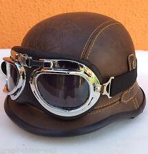 Chopper Biker Helm Gr.S BRAUN MISS JAVA  BULZEYE Wehrmacht Motorrad mit Brille