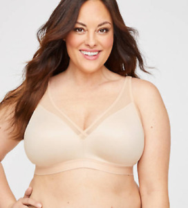 Catherines NWT No Wire Simply Cool Comfy Soft Supportive Bra Plus 50C NUDE