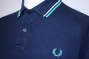 """Fred Perry Twin Tipped Light & Stretch Polo Shirt -46""""/XL- Navy/White/Mint Top"""