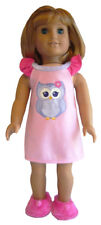 """Pink Owl Nightgown & Fuzzy Slippers for 18"""" American Girl Doll Clothes"""