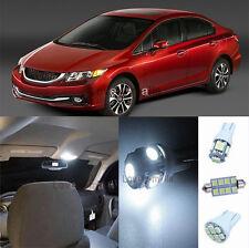 New Premium White Lights Interior LED Package Kit For Honda Civic 2013-2015