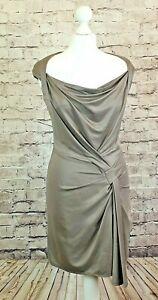 Karen Millen Dress Slinky Draped Cocktail Evening Races Bodycon Size UK 10