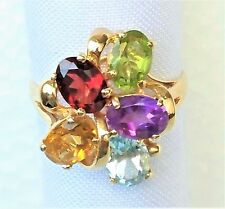 Womens 14k Solid Gold Ring Garnet Peridot Amethyst Citrine Gemstone Sz 7 3/4