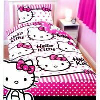 Hello Kitty 'Stripe Hearts' Rotary Girls Single Bed Duvet Quilt Cover Set