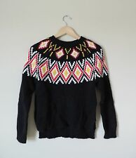 Women's BCBGMaxazria Tribal Print Aztec Black Sweater Size XXS New NWT