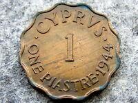 CYPRUS GEORGE VI 1944 1 PIASTRE, AUNC LUSTRE NICE PATINA
