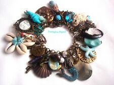 Turquoise Abalone Cloissone Seahorse Tassel Mermaid Bracelet Peace Sign Chalk