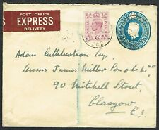 c.1950 EXPRESS Delivery to Glasgow 6d Purple on 2 1/2d Envelope EXPRESS Label
