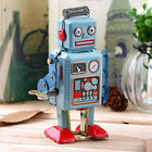 Vintage Mechanical Clockwork Wind Up Metal Walking Robot Tin Toy Kids Gift IT